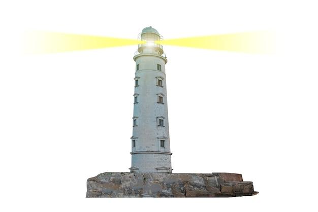 Leuchtturm auf der insel mit doppeltem suchscheinwerferstrahl durch die luft isoliert auf weißem hintergrund