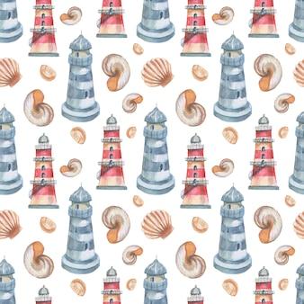 Leuchtturm muscheln meer nahtlose muster reise strand aquarell illustration hand gezeichnet