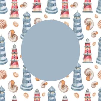 Leuchtturm muscheln meer nahtlose muster reise strand aquarell illustration handgezeichnete print textil
