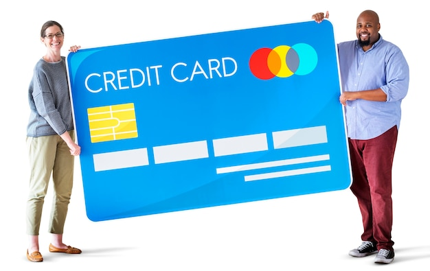 Leute, die eine kreditkarte halten