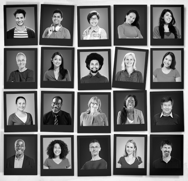 Leute-verschiedenartigkeit stellt menschliches gesichtsporträt-gemeinschaftskonzept gegenüber