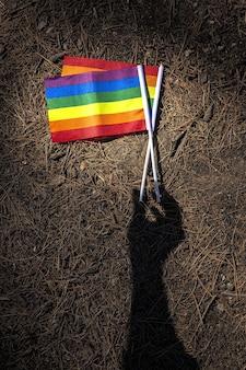 Lgbt-flagge im feld. stolz. freiheitskonzept