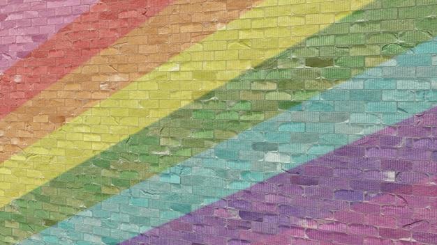 Lgbt konzeptionelle wandziegel gemalt, regenbogenfahne hintergrund. 3d gerenderte illustration.