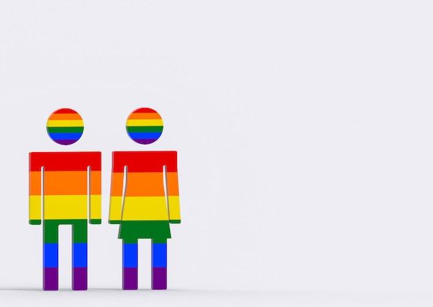 Lgbt-regenbogenfarbmann und weibliches geschlechtssymbol auf kopienraumgrauhintergrund.
