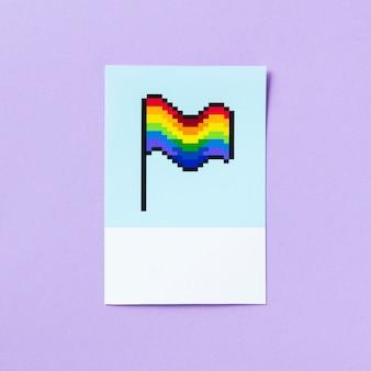 Lgbt-regenbogenflagge mit pixelated-stolz