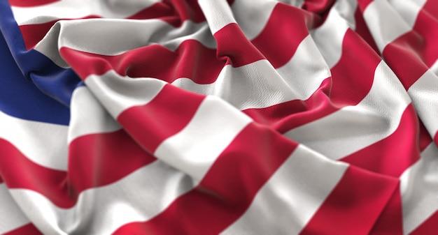 Liberia-flagge gekräuselt schön winken makro nahaufnahme shot