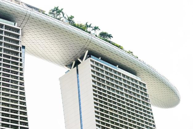 Licht abend singapur meer wolkenkratzer