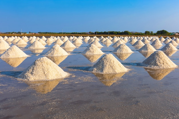 Licht der salzindustrie morgens an phetchaburi-provinz, thailand