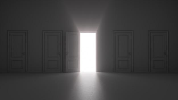 Licht kommt durch eine offene tür
