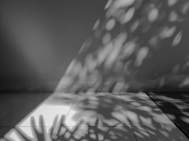 Licht und schatten auf konkretem abstraktem hintergrund der wand. unscharfe schwarzweiss-zementwand.