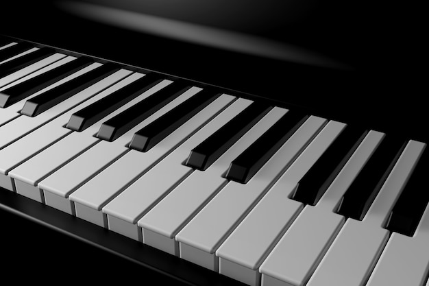 Licht und schatten des klaviers in der dunkelheit