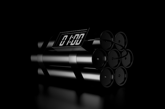 Licht und schatten einer dynamitbombe in der dunkelheit