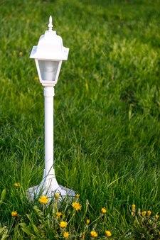 Lichter auf dem rasen. leuchtet mit dekorativem licht. laternen entlang des weges. gartengestaltung im hinterhof