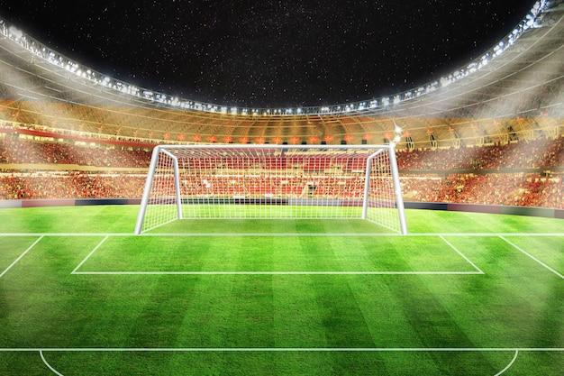 Lichter in der nacht und fußballstadion
