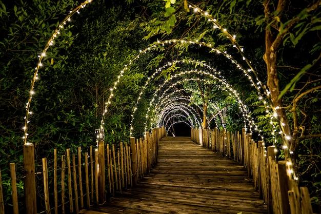 Lichtlinie hängen an der baumdekoration an, um konzept auf dem holzterrassenweg mit verdunkelung herum zu höhlen.