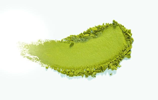 Lidschatten schimmernde matte grüne textur lokalisiert auf weißem hintergrund
