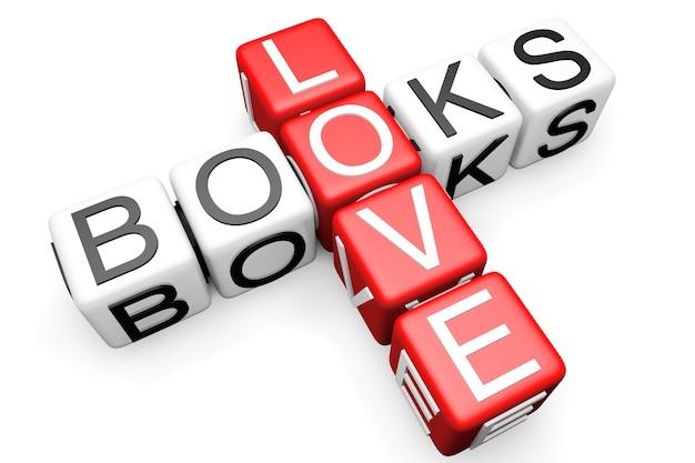 Liebe bücher kreuzworträtsel blocktext auf weißem hintergrund