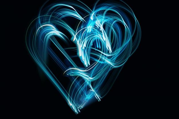 Liebe . das symbol auf schwarzem hintergrund freezelight