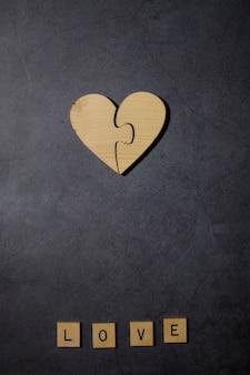 Liebe text wort holzblöcke mit holz herz