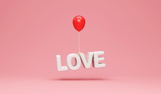Liebe textsymbol mit rotem ballon auf studiohintergrund