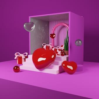 Liebe und abstraktes objekt valentinstag design-konzept für social media post - 3d-rendering