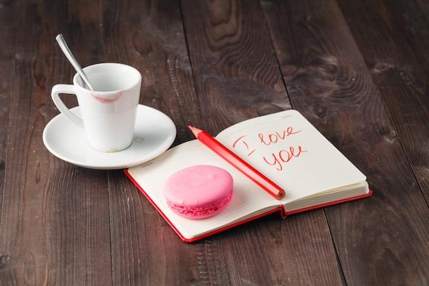 Liebesbotschaft nach dem kaffeetrinken