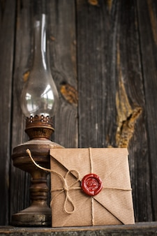 Liebesbrief und eine petroleumlampe