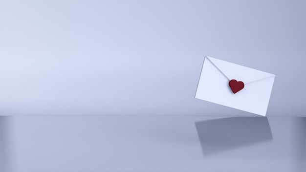 Liebesbrief, valentinskonzept. 3d rendern