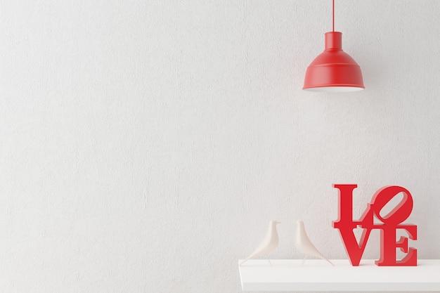 Liebesdekoration, rote lampe und weiße tauben