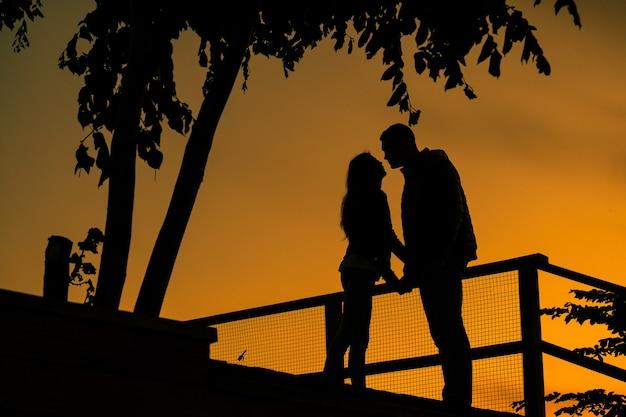 Liebesgeschichte. paar bei sonnenuntergang. silhouette von liebhabern.