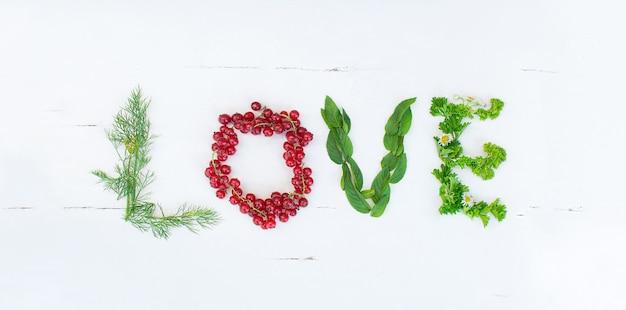 Liebesinschrift aus dillblättern rote johannisbeere minzeblätter petersilie und kamille. exemplar