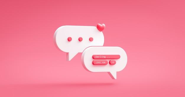 Liebesnachrichtensymbol und rosafarbenes herz online-social-dating-chat-benachrichtigung auf romantischem glücklichem valentinstag mit grußzitat-beziehungssymbol. 3d-rendering.