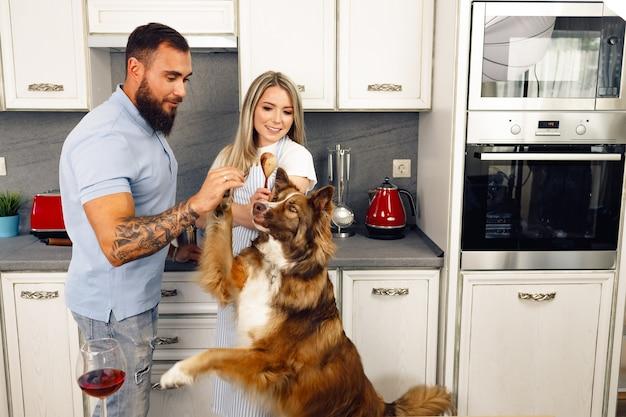 Liebespaar, das mit ihrem border-collie-hund essen in der küche kocht