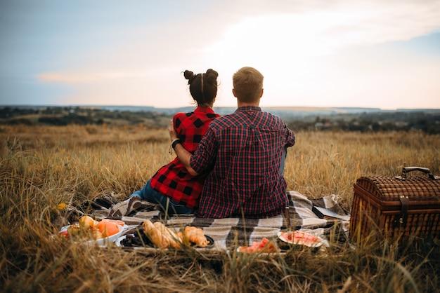Liebespaar sitzt auf plaid, rückansicht, picknick im sommerfeld. romantische junket, mann und frau freizeit zusammen