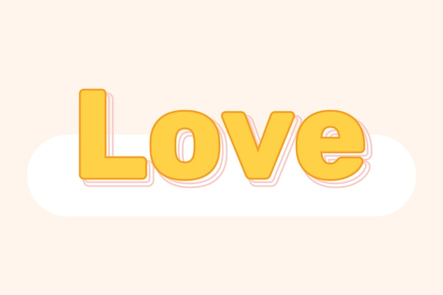 Liebestext in geschichteter schrift