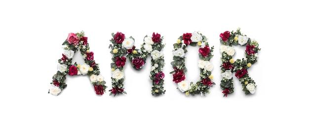 Liebeswort von blumen auf weiß