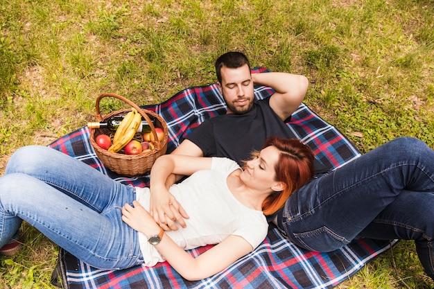 Liebevolle junge paare, die auf dem picknick im park sich entspannen