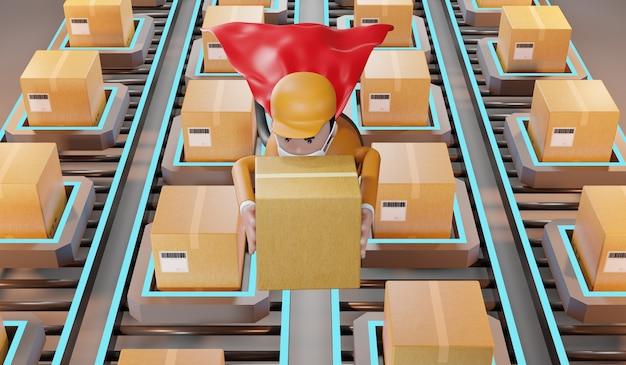 Lieferbote, der eine schützende gesichtsmaske trägt, trägt rote umhänge und schickt pakete an kunden