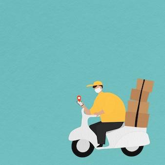 Lieferjunge auf einem roller mit paketkästen, der den standort des kunden auf seinem telefon überprüft