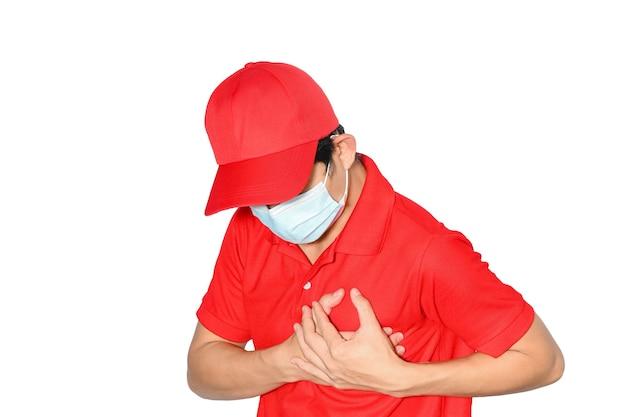 Lieferung mann menschen brustschmerzen von herzinfarkt. gesundheitskonzept isolieren