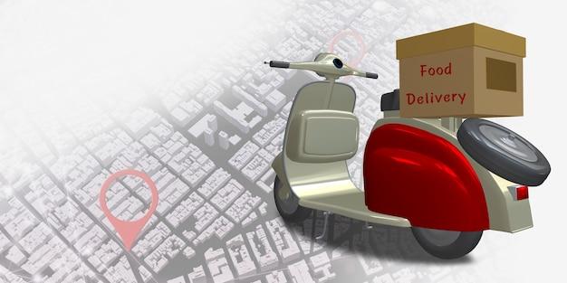 Lieferung motorrad stadtplan punkt gps-koordinaten locator pin online-liefersystem 3d-darstellung