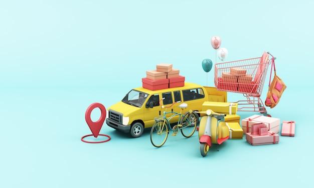 Lieferung per gelbem rollermotorrad und gelbem van mit standortmobilanwendung
