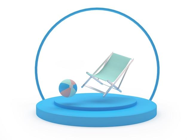 Liegestuhl mit einem strandball auf einem ständer