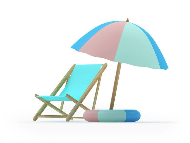 Liegestuhl mit rettungsring unter einem sonnenschirm