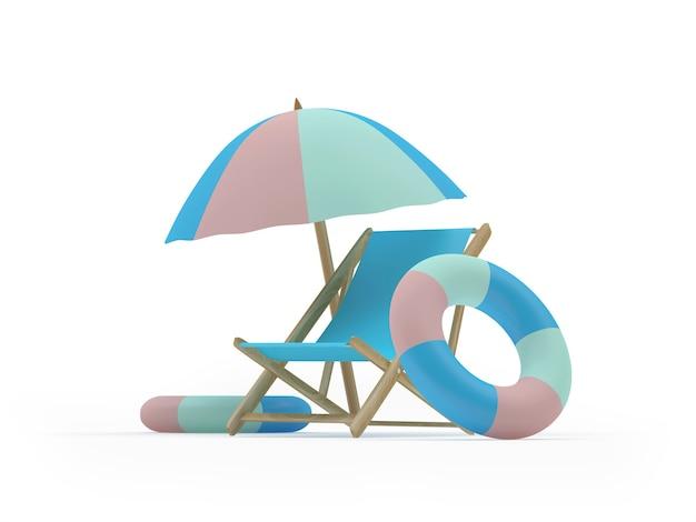 Liegestuhl mit rettungsringen unter einem sonnenschirm