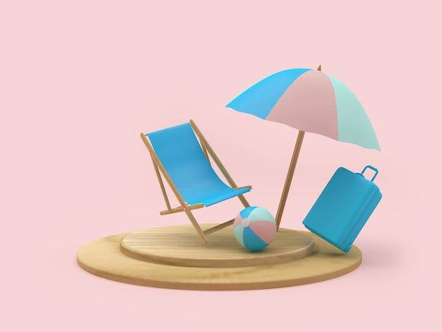 Liegestuhl und koffer mit sonnenschirm auf ständer
