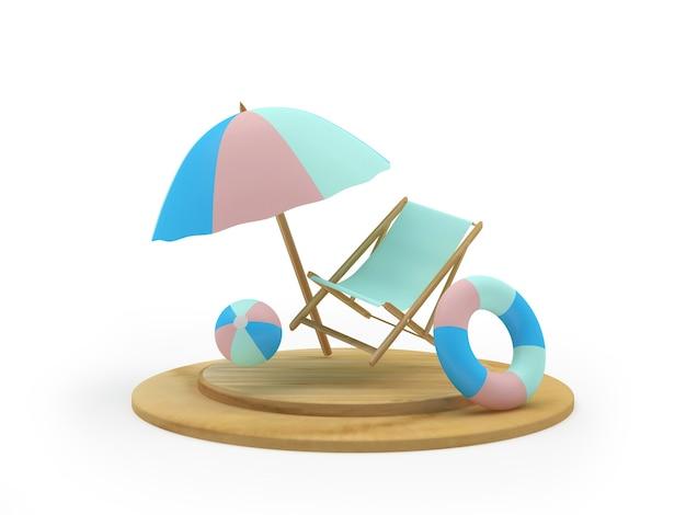 Liegestuhl und rettungsring unter einem sonnenschirm auf einem ständer