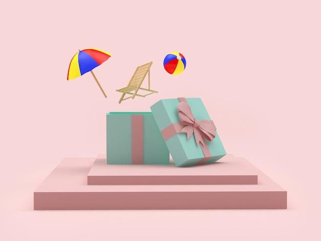 Liegestuhl und sonnenschirm mit ball fliegen aus einer geschenkbox auf einem ständer