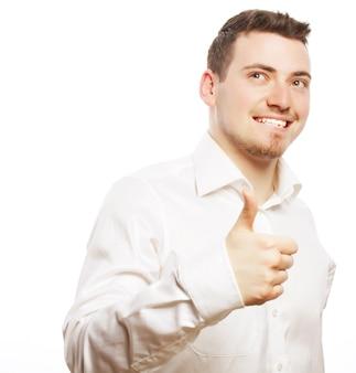 Lifestyle-, business- und people-konzept: geschäftsmann, der daumen hoch geht, isoliert auf weiß