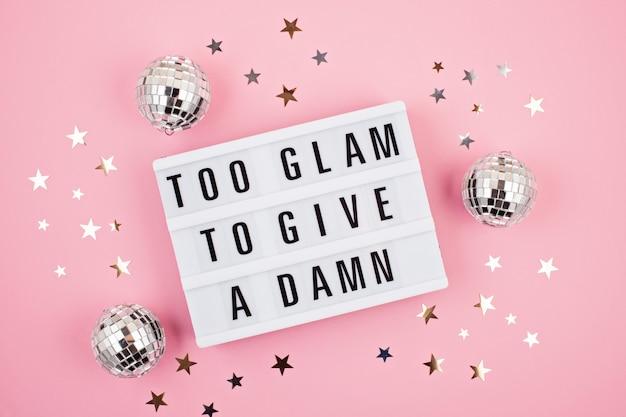 Lightbox mit phrase zu glamour, um einen dreck zu geben